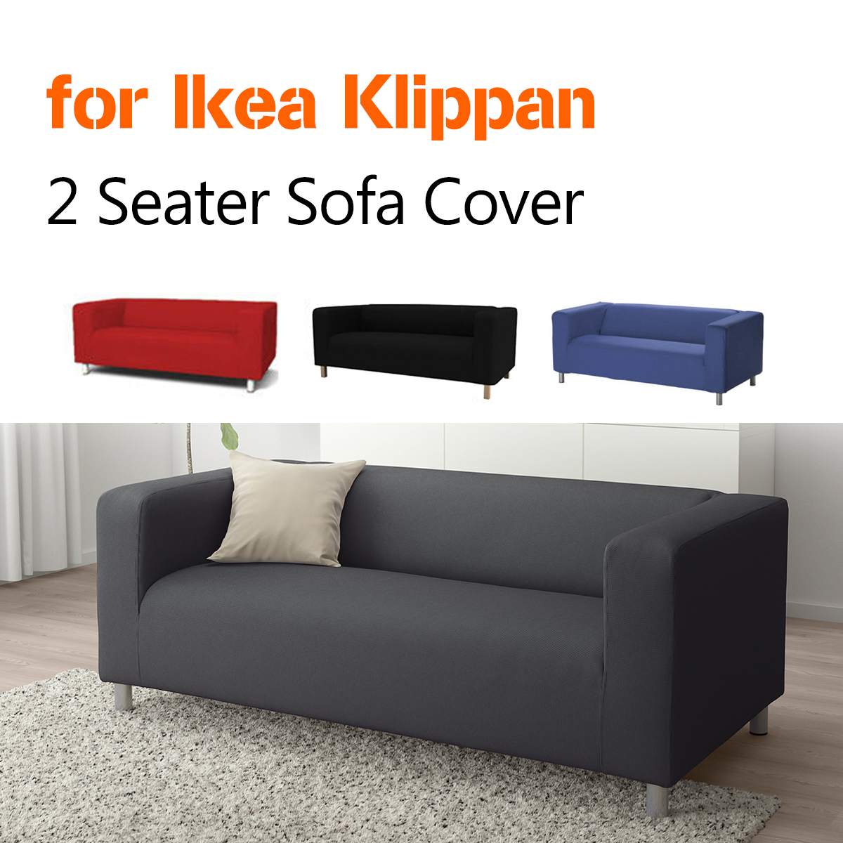 Silla Klippan Details About Stretch Slipcover 2 Seater Sofa Chair Couch Cover Soft Loveseat For Ikea Klippan