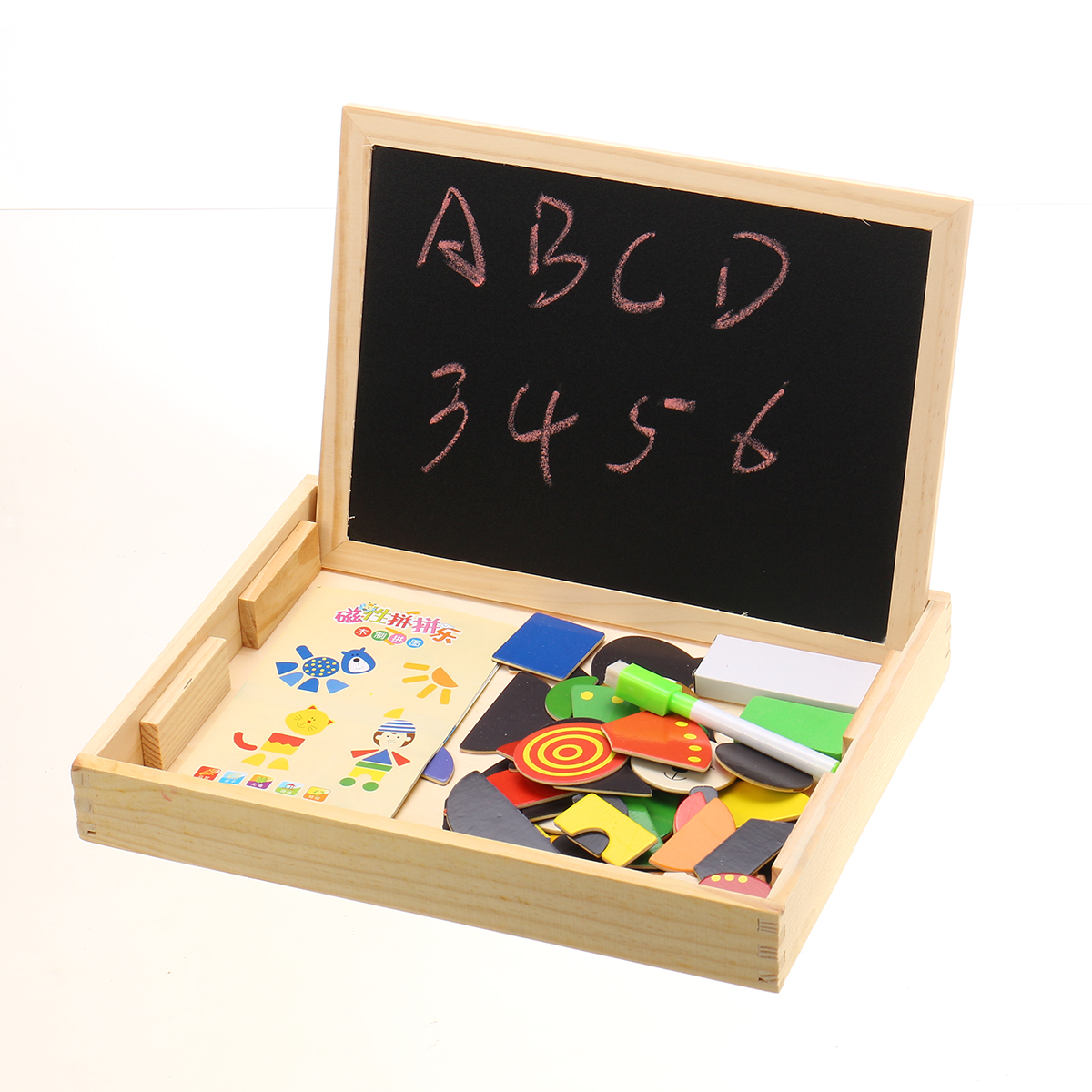 Baby's Learning Pen Wooden Puzzle Educational Magnetic Learning Box With