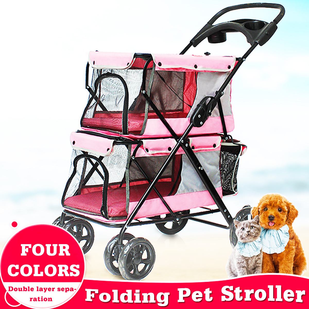Oxford Pet Stroller Ebay Details About Portable Pet Stroller Dog Cat Double Layer Carrier Buggy Breathable Cart Walking