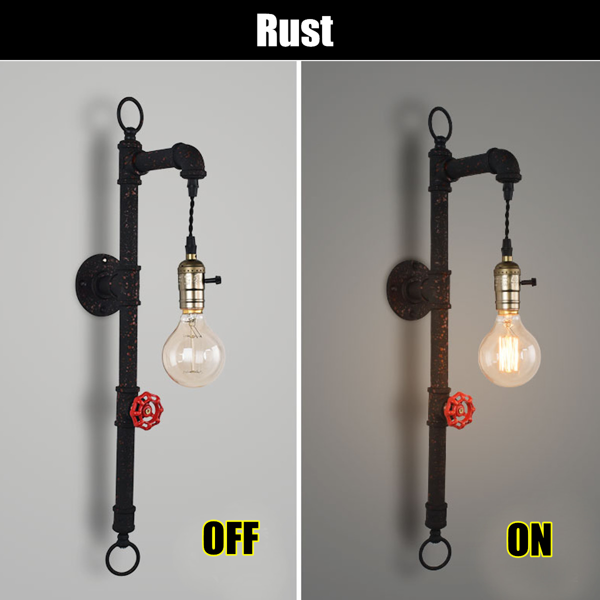 Iron Pipe Light Fixture Vintage Industrial Wall Light Sconce Retro Lamp Steampunk