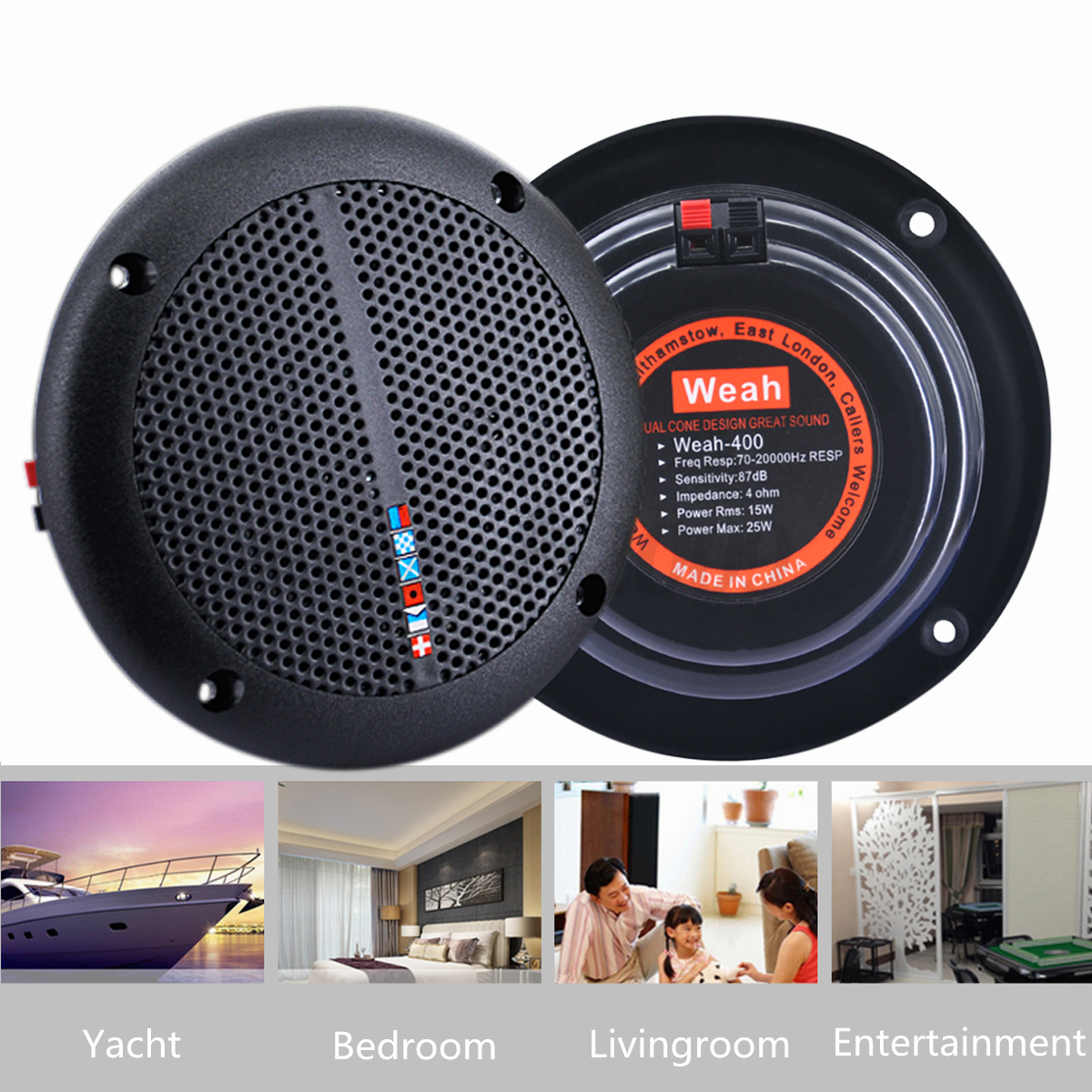 Kitchen Speaker 2pcs Home Waterproof Ceiling Speakers Kitchen Bathroom