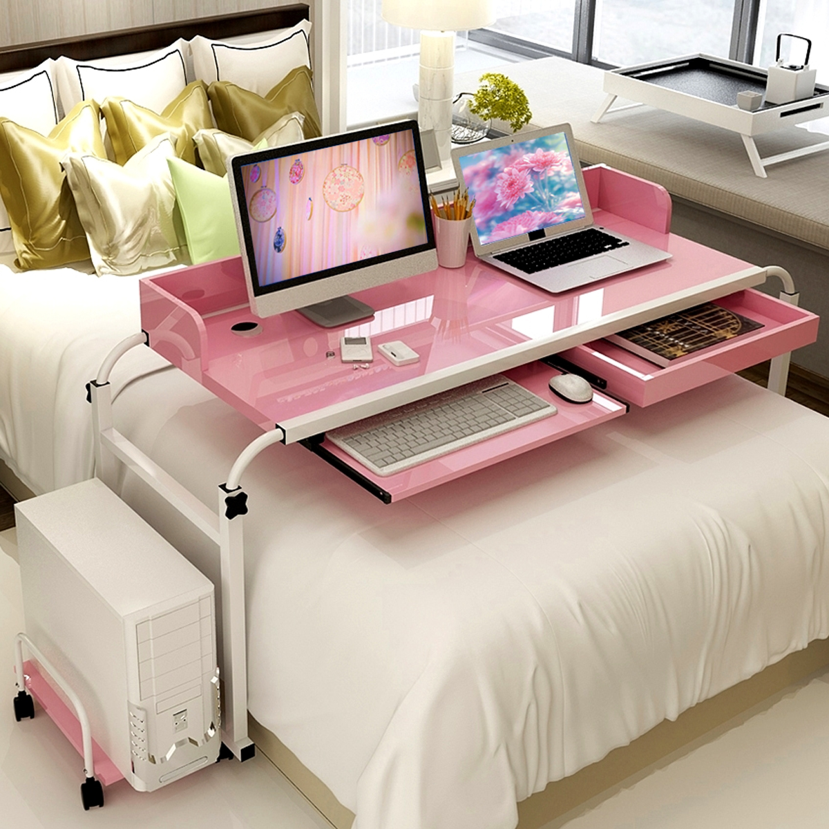 Laptop Tray For Bed Mobile Over Bed Table Home Office Working Computer Desk