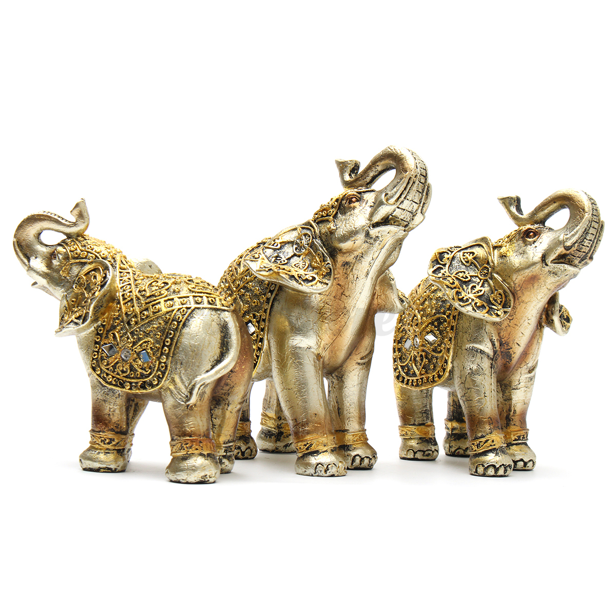 Animal Figurines Home Decor Fengshui Lucky Elegant Elephants Statue Resin Animal