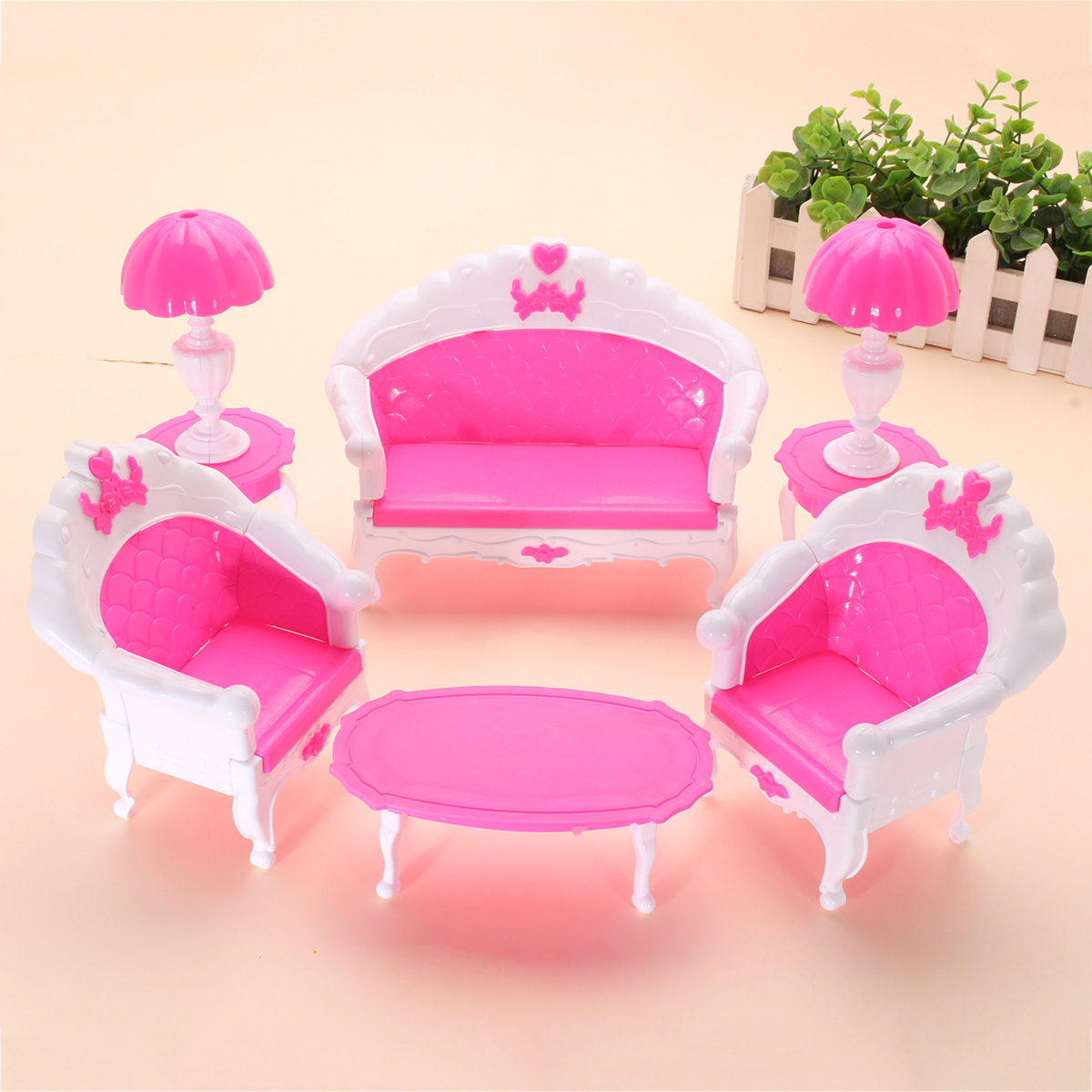 Ebay Sofa Pink Details About 6x Sofa Chair Table Lamp Living Room Set Dolls House Miniature Furniture Toy