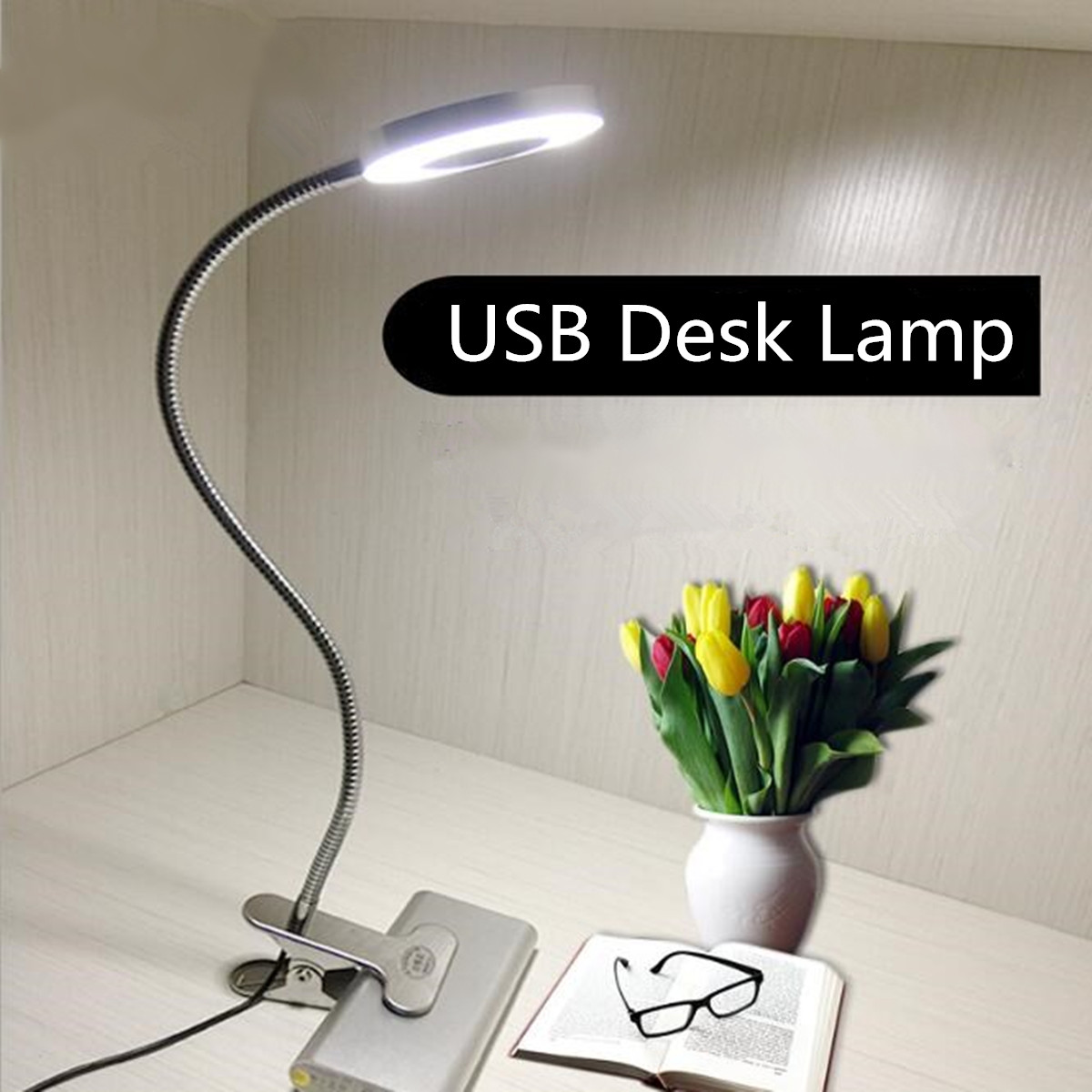Clip On Bed Lamp 12w Led Dimmable Usb Clip Desk Table Lamp For Bedside Dormitory