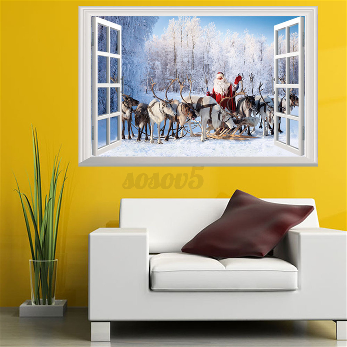 3d Home Decor 3d Window View Wall Stickers Xmas Santa Claus Elk Deer