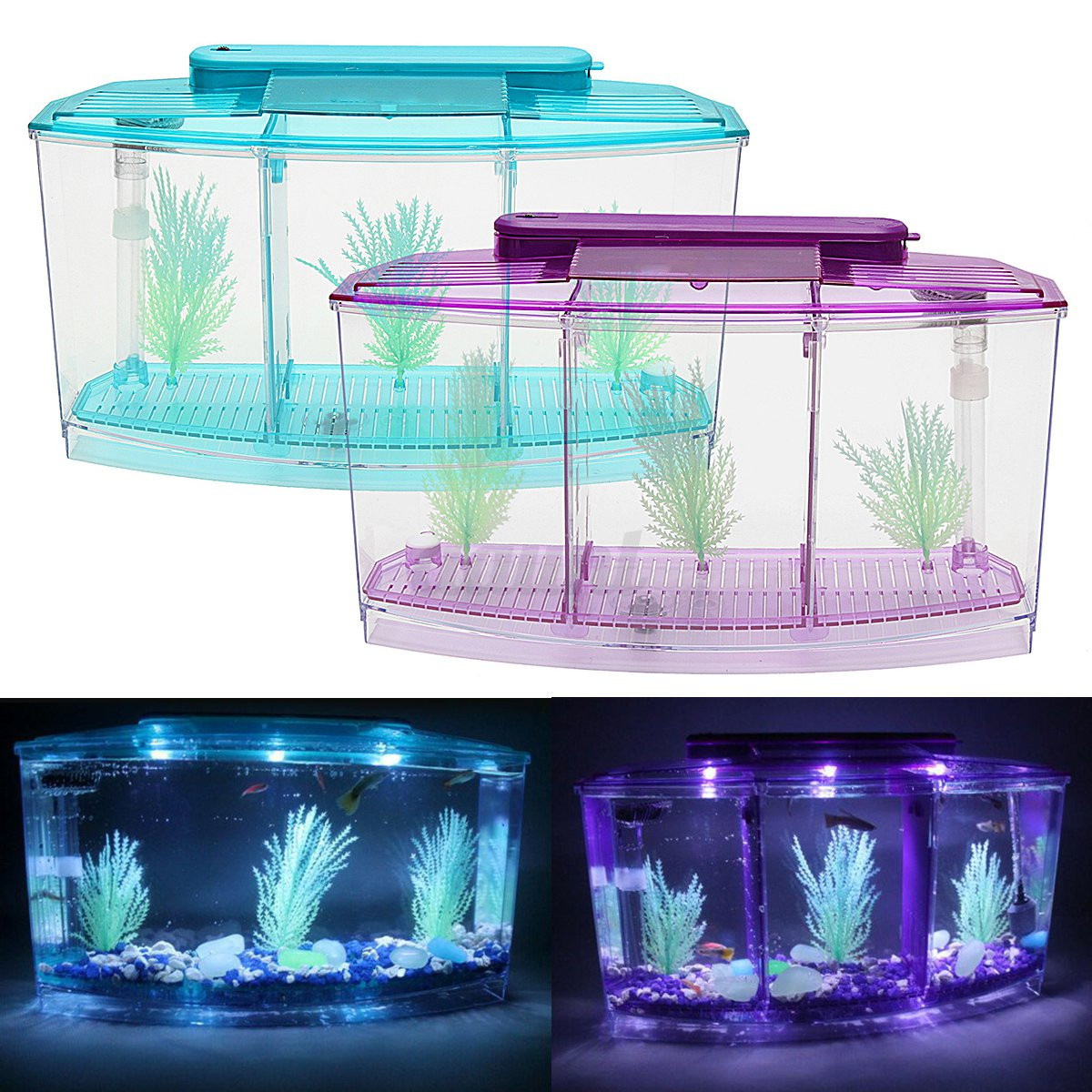 Aquarium Bottom Light New Triple Cube Led Light Betta Aquarium Separate Spawning