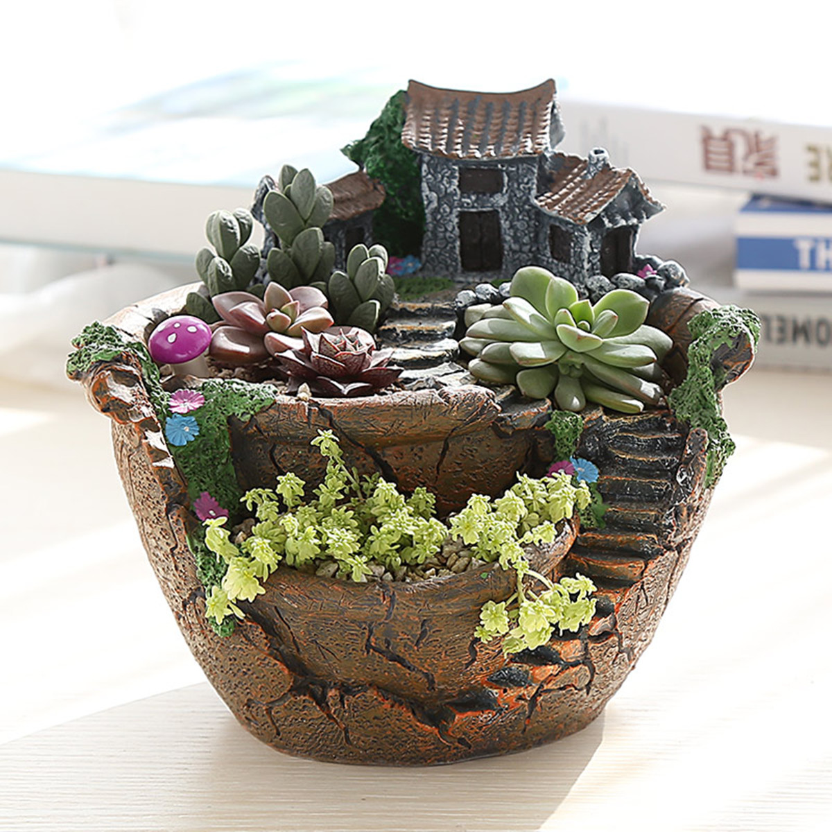 Herb Planter Pot Sky Garden Planter Herb Flower Cactus Succulent Clay Pot