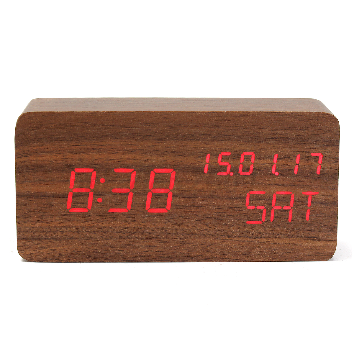Digital Desk Clock Digital Led Wood Wooden Desk Alarm Clock Timer Thermometer