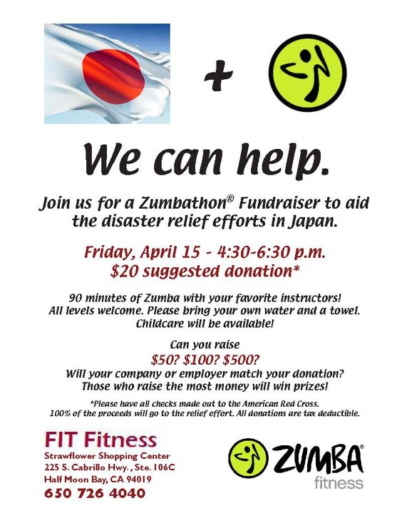 FIT Fitness to Raise Money for Japanese Relief Charise\u0027s Chamber - Disaster Relief Flyer