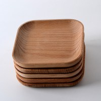 wooden tableware feeder Beech wood plate wood ...