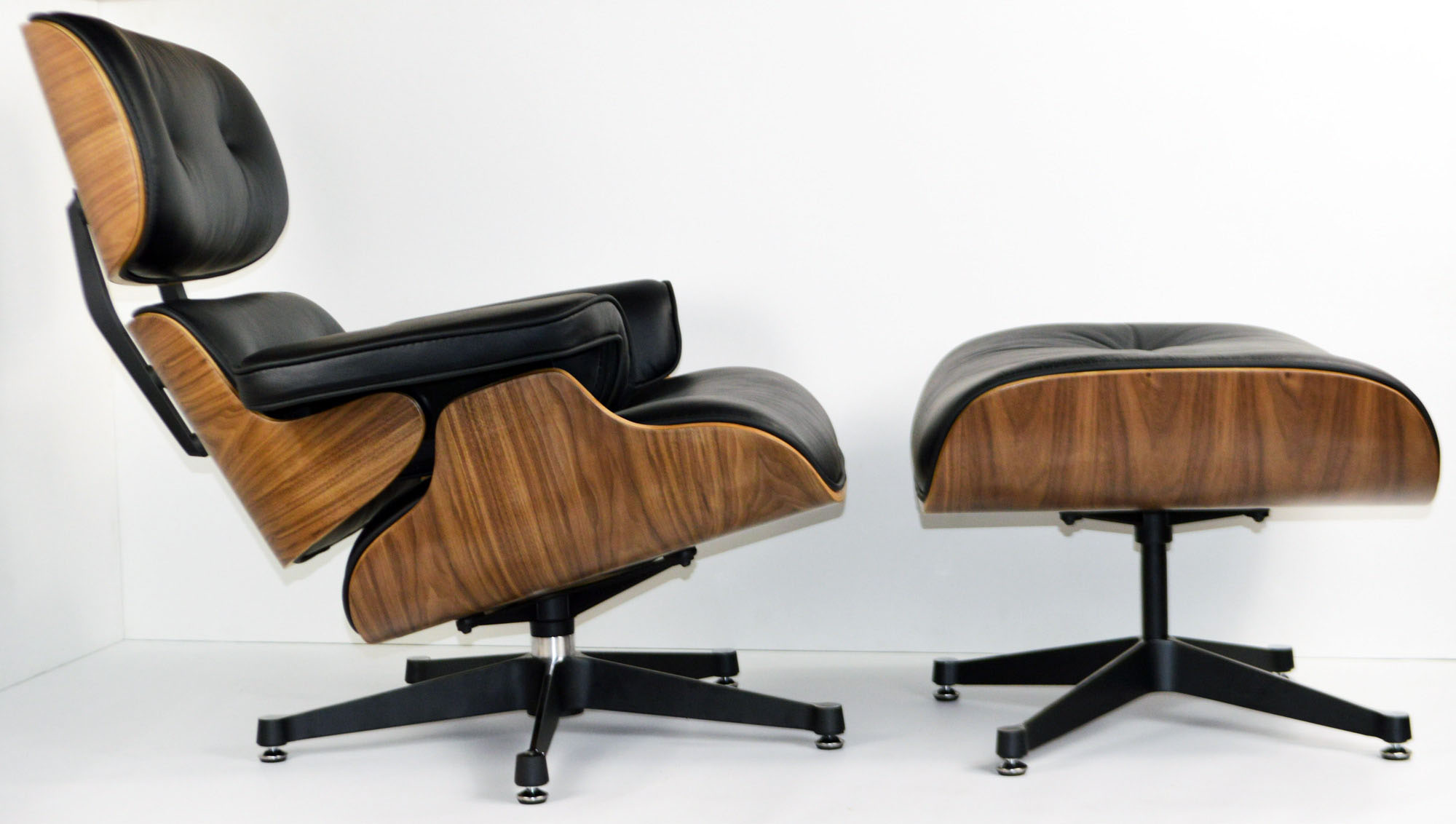 Chair Eames Charles Eames Chair - Walnut - Black Leather - Charles Eames
