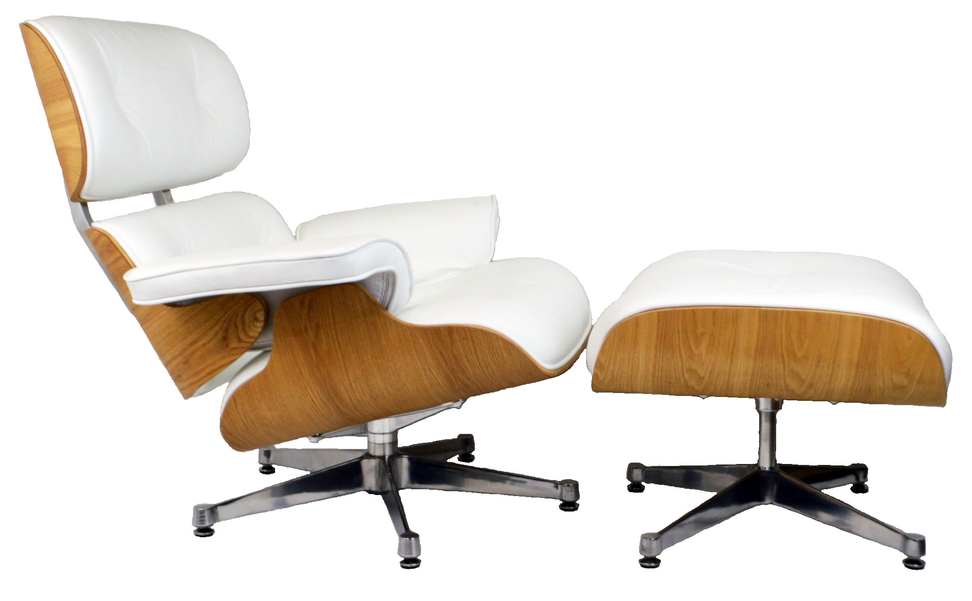Charles Eames Lounge Chair Charles Eames Lounge Chair Ashwood White Leather - Charles Eames