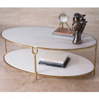 Oval Marble Cocktail Table Hammered Iron