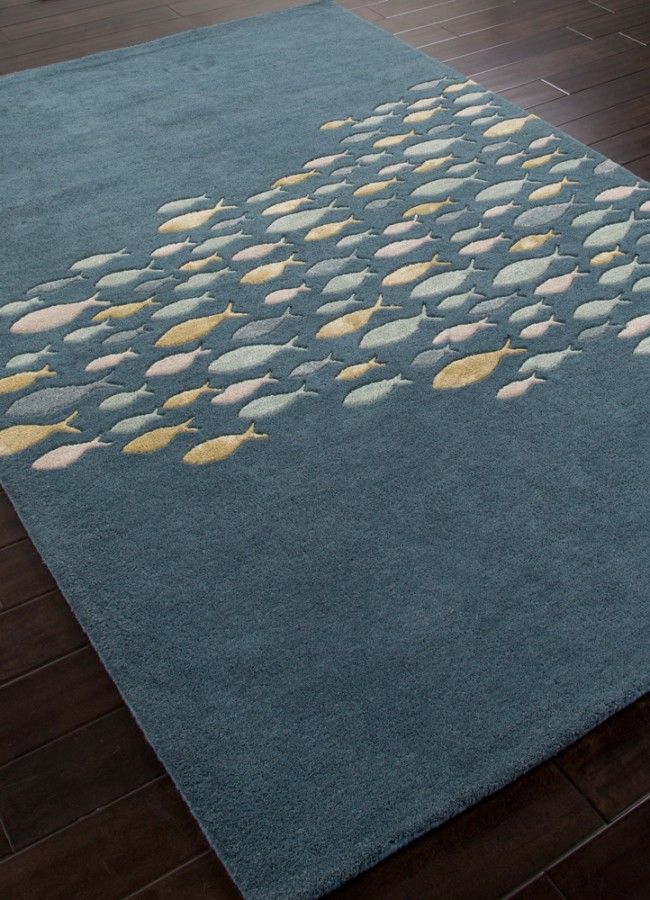 Occasional Tables Plush Hand Tufted School Of Fish Coastal Living Wool Rug Blue