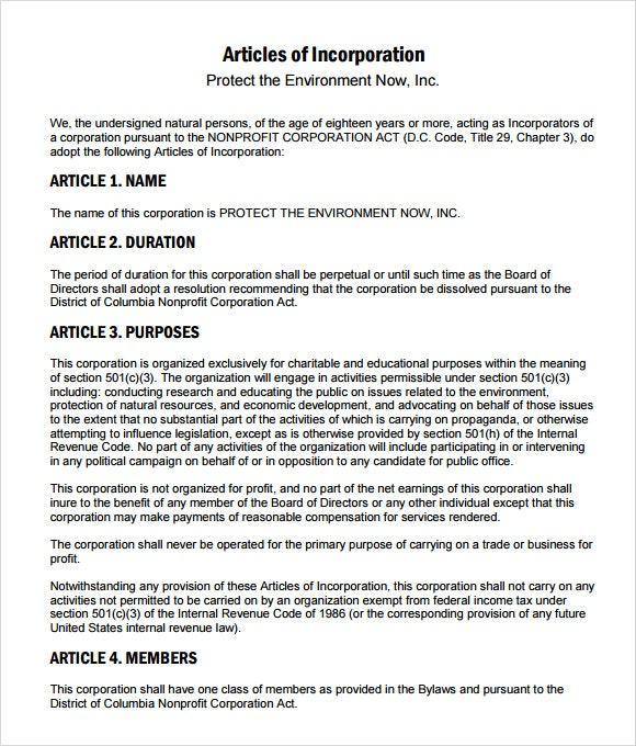 Articles Of Incorporation Example charlotte clergy coalition