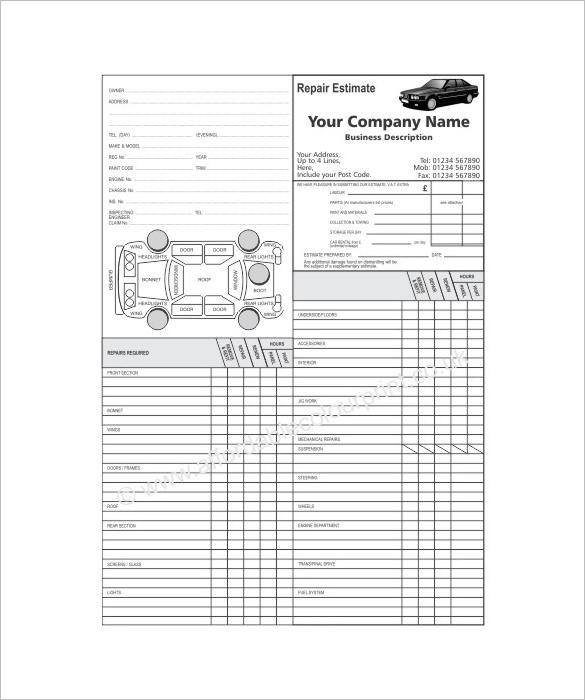 Auto Repair Estimate Template Excel charlotte clergy coalition