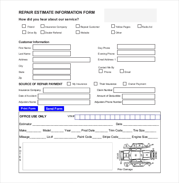 Auto Repair Estimate Template Excel charlotte clergy coalition