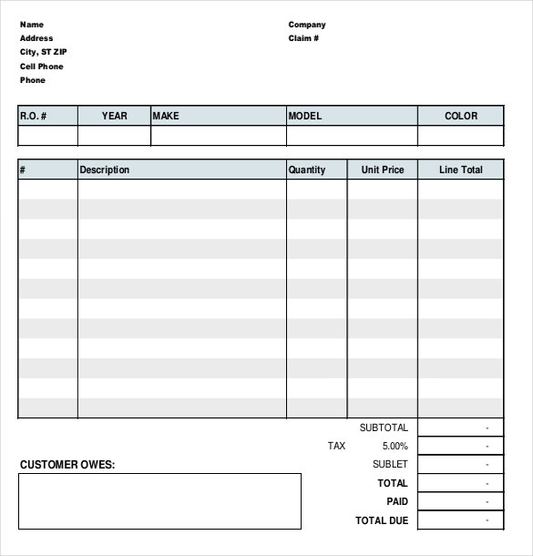 Auto Repair Work Order Template charlotte clergy coalition - work templates