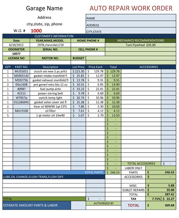 Auto Repair Work Order Template charlotte clergy coalition - automotive repair order template free