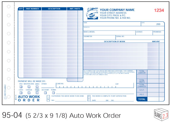 Auto Work Order charlotte clergy coalition - free work order form