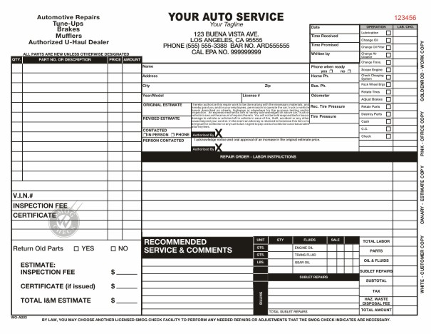 mechanic shop work order template