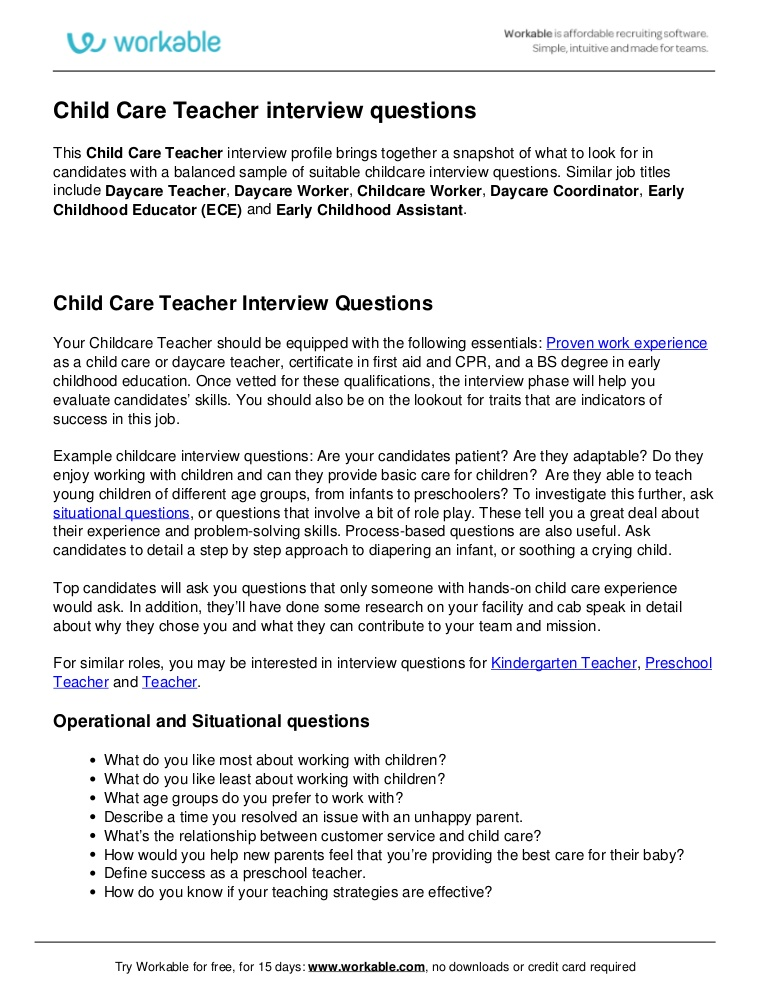 Child Care Interview Questions charlotte clergy coalition - interview questions for teachers