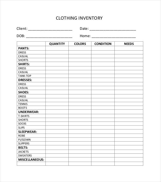 Clothing Inventory Spreadsheet charlotte clergy coalition
