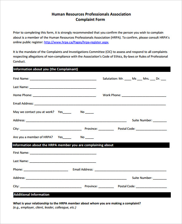 Complaint Forms Template charlotte clergy coalition - customer complaints form template