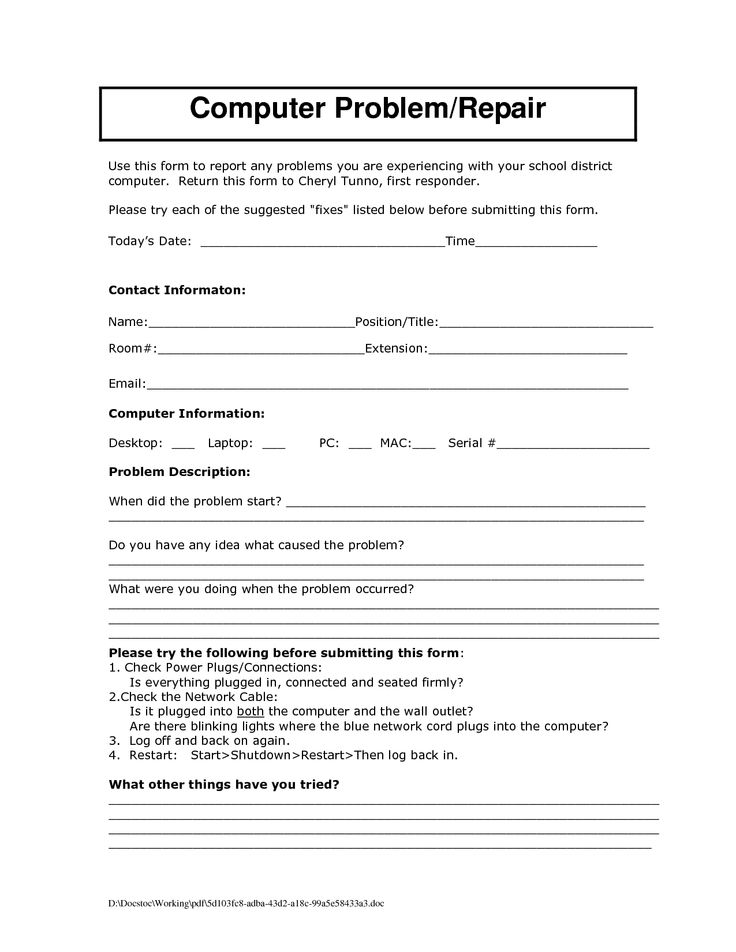 Computer Repair Form Template charlotte clergy coalition