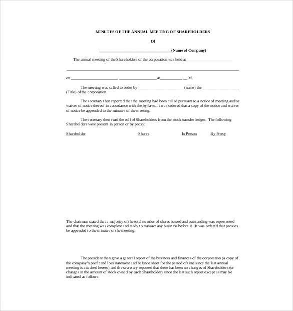 Corporate Minutes Template charlotte clergy coalition