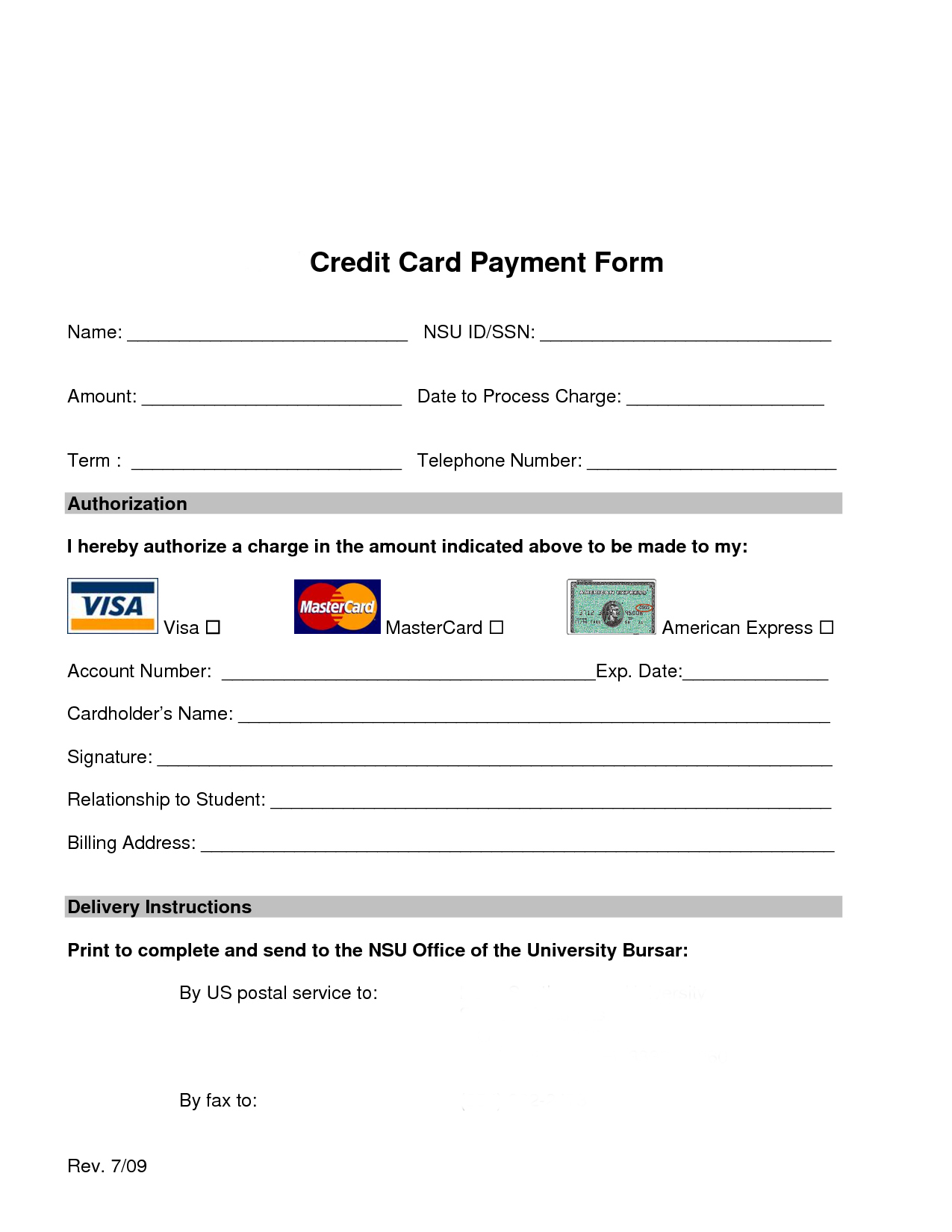 credit card payment slip template