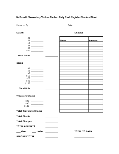 Daily Cash Register Balance Sheet Template | charlotte ...