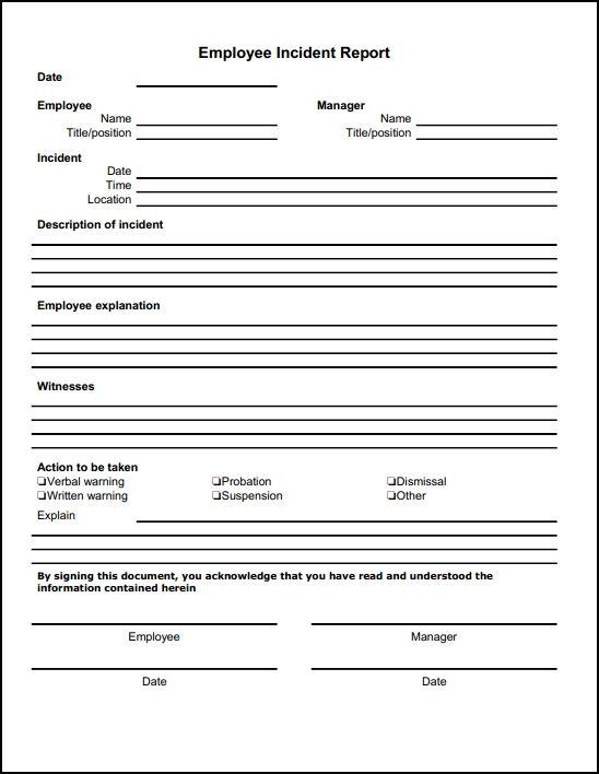 Employee Incident Report Sample charlotte clergy coalition - Sample Incident Report