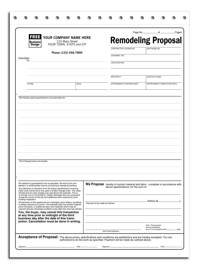 Free Contractor Proposal Form charlotte clergy coalition