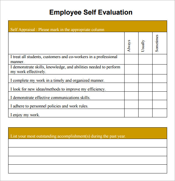 Free Employee Self Evaluation Forms Printable charlotte clergy