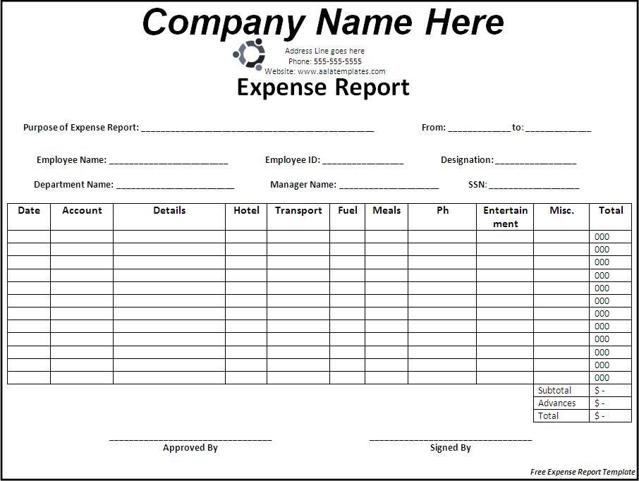 Free Expense Report Templates charlotte clergy coalition - microsoft expense report