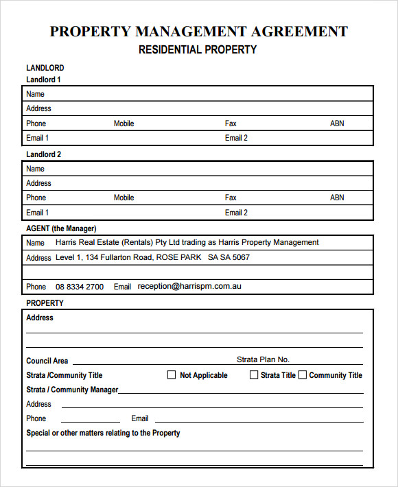 Free Property Management Forms Templates charlotte clergy coalition