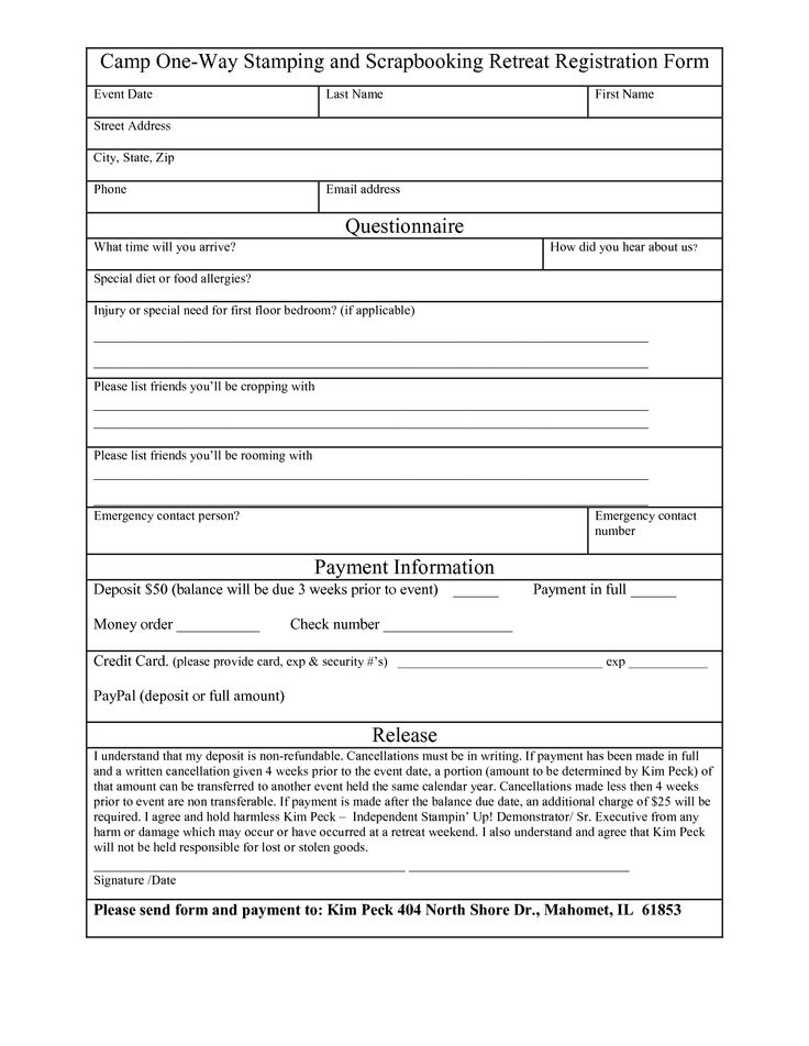 Free Registration Forms Template charlotte clergy coalition