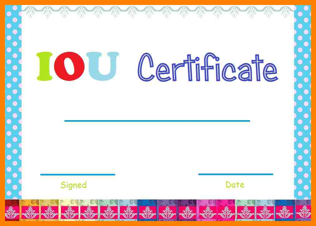 i owe you certificate templates