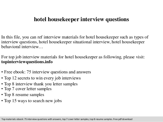 Interview Questions For Housekeeping charlotte clergy coalition