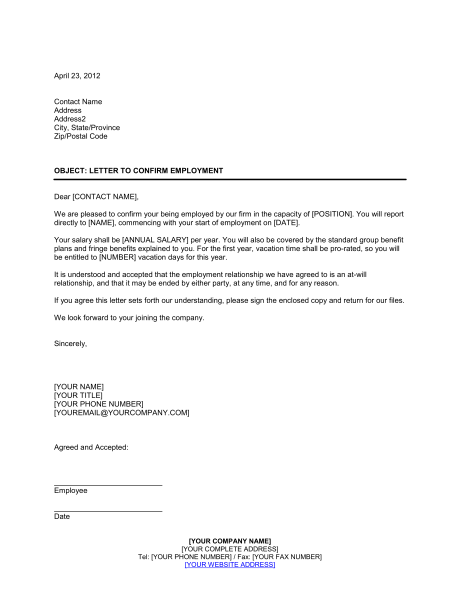 letter from employer confirming employment