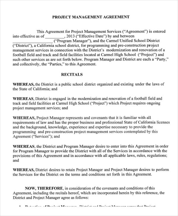 Management Agreement Template charlotte clergy coalition