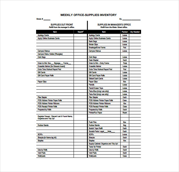 Office Supplies Inventory Template charlotte clergy coalition - office supply list form