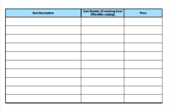 office supply list excel template