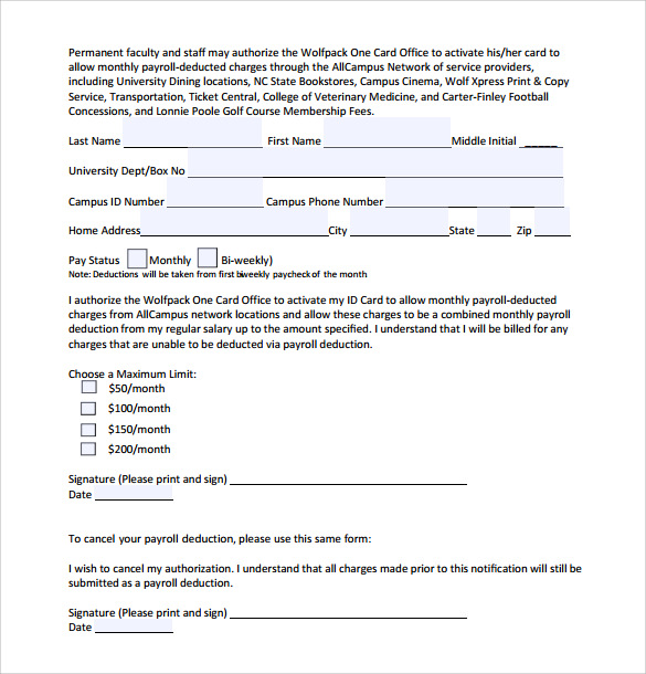 Payroll Deduction Authorization Form Template charlotte clergy