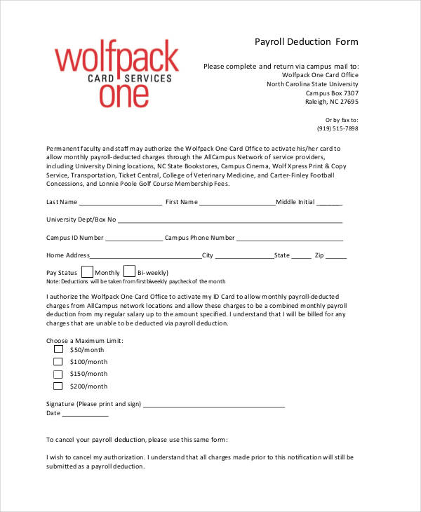 Payroll Deduction Authorization Form Template charlotte clergy - payroll form templates