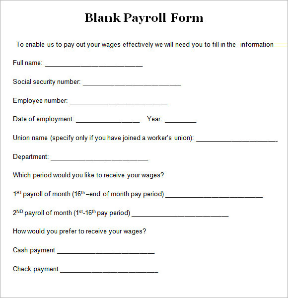 Payroll Form Templates charlotte clergy coalition