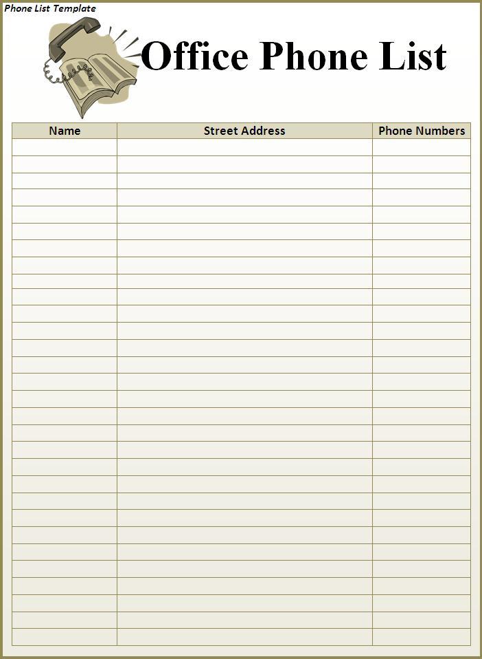 telephone list