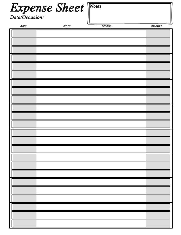 Printable Expense Sheet charlotte clergy coalition - expense sheet template